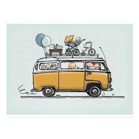 Vintage bus with baby briefkaart