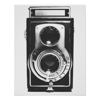 Vintage Camera b&w Poster