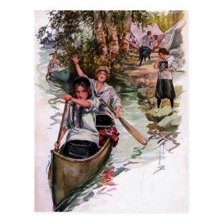 Vintage Canoeing van de Kampeerauto's van de Briefkaart