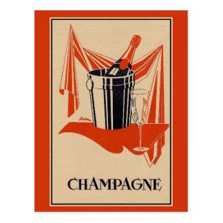 Vintage champagnepartij en verjaardag briefkaart