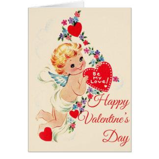 """Vintage Cherubijn """"Gelukkige Valentijnsdag"""" Kaart"""
