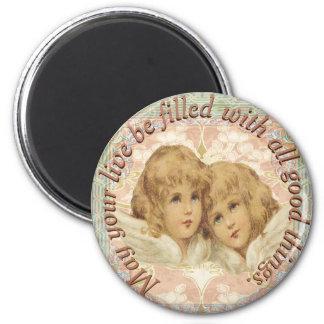 Vintage Cherubijnen Alle Goede Dingen Ronde Magneet 5,7 Cm