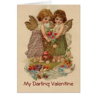 vintage cherubijnvalentijnskaart kaart