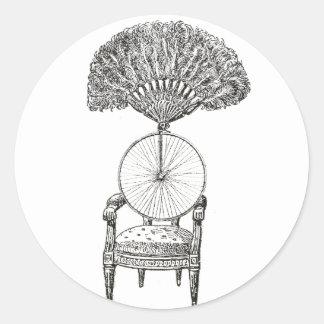 Vintage collagestoel, fiets en ventilator - ronde sticker