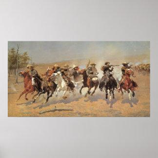 Vintage Cowboys, een Streepje voor Hout door Poster