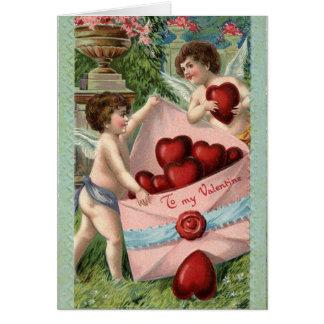 Vintage Cupido's Valentijn Wenskaart
