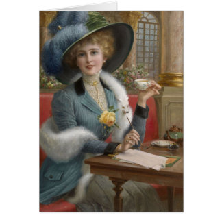 Vintage Dame bij een het Schrijven Bureau, Briefkaarten 0