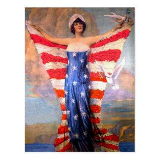 Vintage Dame van de Patriottische Amerikaanse Vlag Briefkaart
