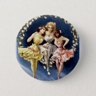 Vintage Dansende Ballerina's Ronde Button 5,7 Cm