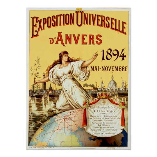 Vintage d'Anvers 1894 van Universelle van de Poster