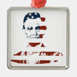 Vintage de Amerikaanse vlag van Abraham Lincoln Zilverkleurig Vierkant Ornament