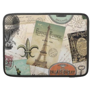 Vintage de collage macbook sleeve van de Reis Sleeves Voor MacBooks