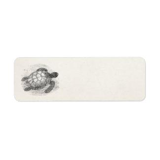 Vintage de Gepersonaliseerde Mariene Schildpadden Etiket