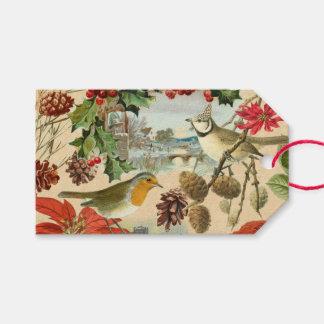 Vintage de giftlabels van Kerstmis met vogels en Cadeaulabel