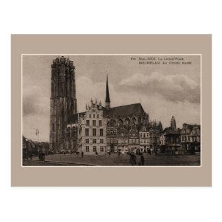 Vintage de Grote Plaats van Mechelen Malines Grote Briefkaart