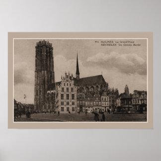 Vintage de Grote Plaats van Mechelen Malines Grote Poster