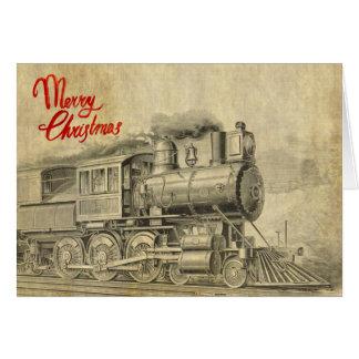 Vintage de illustratieKerstkaart van de Trein van Kaart