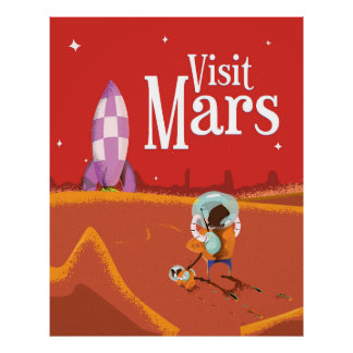 Vintage de reisposter van de Reis van Mars Poster