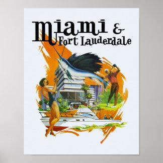 Vintage de reisposter van Miami, Florida Poster