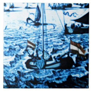 Vintage Delfts blauw van de Schepen van Amsterdam Tegeltje