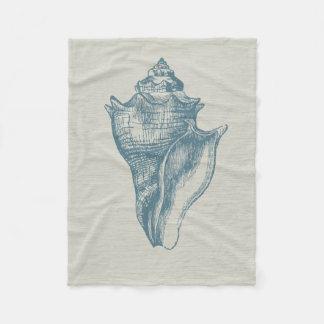 Vintage Diep Oceaan Blauw Shell Fleece Deken