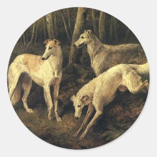 Vintage Dieren, de Honden van de Windhond in het Ronde Stickers