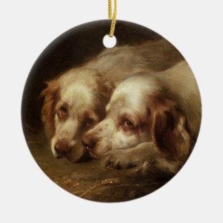 Vintage Dieren, de Leuke Honden van het Puppy van Rond Keramisch Ornament