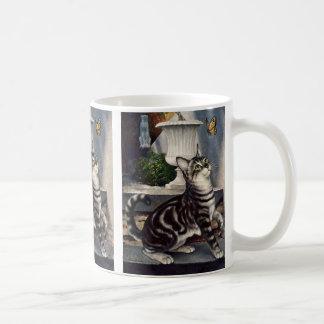 Vintage Dieren, de Leuke Kat van de Gestreepte kat Koffiemok