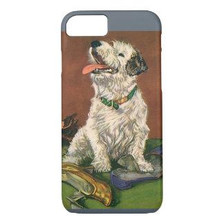 Vintage Dieren, Leuke het Kauwen van het Puppy van iPhone 7 Hoesje