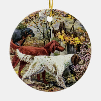 Vintage Drie Ierse Zetters Rond Keramisch Ornament