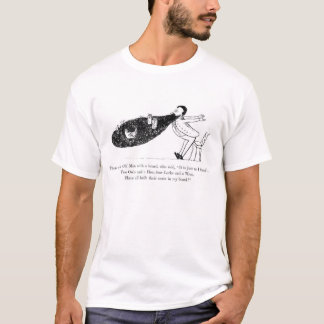 Vintage Druk Edward Lear Beard Poem T-Shirt