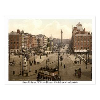 Vintage Dublin Ierland, Straat Sackville Briefkaart