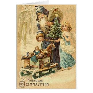 Vintage Duitse Kerstman en de Kerstkaart van de Briefkaarten 0