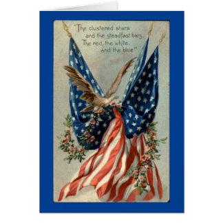 Vintage Eagle met Vlag Notitiekaart