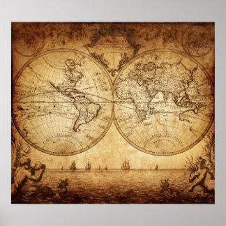 Vintage elegante rustieke bruinachtige wereldkaart poster