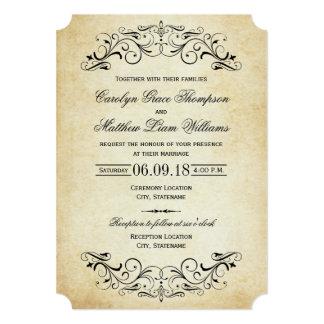 Vintage Elegante Uitnodigingen | van het Huwelijk 12,7x17,8 Uitnodiging Kaart