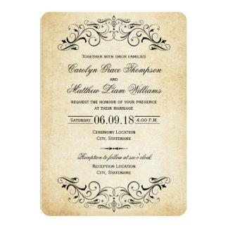 Vintage Elegante Uitnodigingen | van het Huwelijk