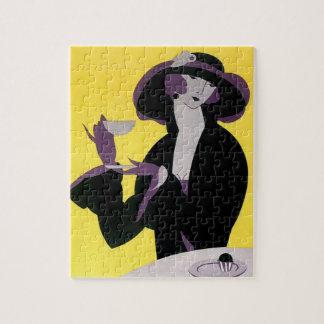 Vintage Elegante Vrouw die het Theekransje van de Legpuzzel