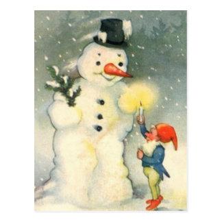 Vintage elf en sneeuwpop kerstmis briefkaart