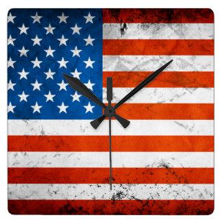 Vintage en Verontruste Amerikaanse Vlag Vierkante Klok