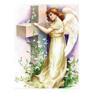 Vintage Engel met Christelijk Kruis Briefkaart