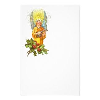 Vintage Engel met hulst en Mandoline Gpersonaliseerd Briefpapier