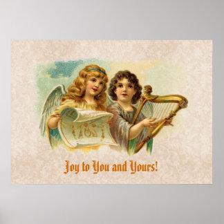 Vintage engelen die het gevoel van de douane zinge afdruk