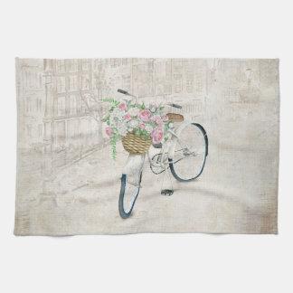 Vintage fietsen met rozenmand theedoek