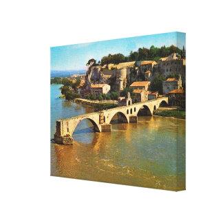 Vintage Frankrijk, Avignon, gebroken brug Canvas Bedrukken