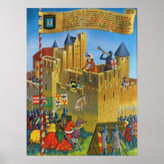 Vintage Frankrijk, Middeleeuwse Carassonne Poster