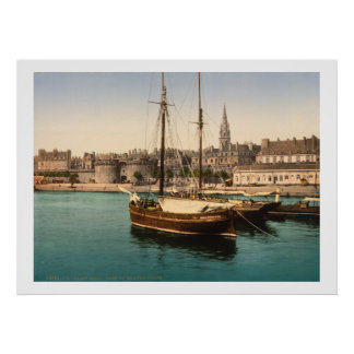 Vintage Frankrijk, Schepen in de Haven van Heilige Poster