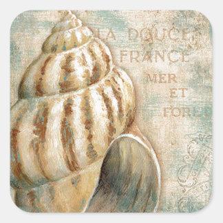 Vintage Franse Kroonslak Shell Vierkante Stickers
