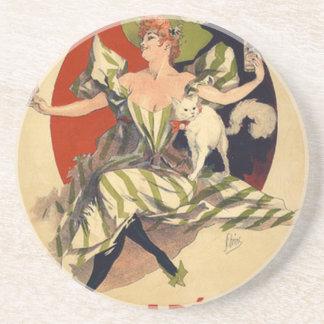Vintage Franse Reclame Zandsteen Onderzetter