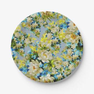 Vintage Geel en Blauw BloemenPatroon Papieren Bordje